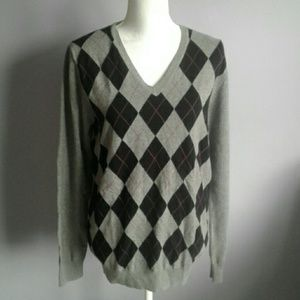 Esprit Collection Argyle V-Neck Sweater M/L